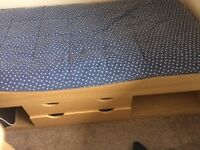 Single cabin bed, 2 drawers with storage space either side. Great condition