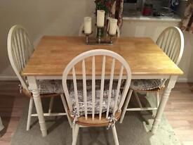 White and oak style dining table and chairs