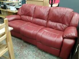 Red Leather Reclining 3 Seater Sofa. Del Available