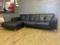 HARVEYS BLACK LEATHER SOFA LOUNGER IN EXCELLENT CONDITION