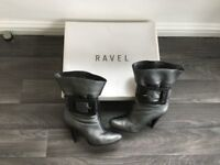 For Sale – Size 3 Ravel Pewter Tumbled Leather Heeled Boots
