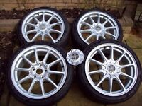 """WOLFRACE 17"""" ALLOYS WITH NEW TYRES - 5X114.3 - HONDA - LEXUS - HYUNDAI - I WILL POST IN UK"""
