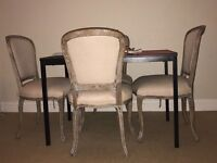 2x French Shabby Chic Mango Dining Tabel & Chairs