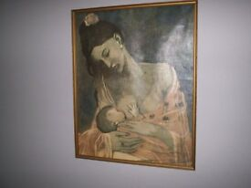 "Vintage Canvas Picasso print, ""Maternite"", rare, 51x41cm framed"