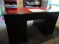 Mahogany Pedestal Executive Office Desk with Red Leather and Gold inlaid Top