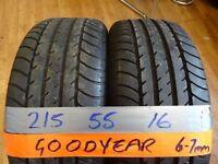 matching pair of 215 55 16 goodyears 6mm tread £50 pair sup & fittd(LOADS MORE AV 7-DAYS)