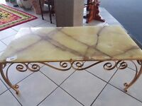 Gilt metal framed,marble top coffee table