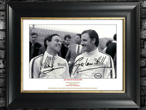 Jim Clark & Graham Hill F1 Autograph Signed (Personalized) + A.Senna.