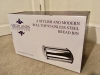 Stainless steel bread bin, new still boxed