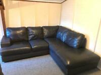 Large blue grey , full leather corner sofa suite