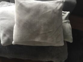 3 LARGE GREY LUXE CUSHIONS