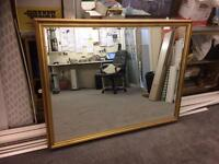 Mirror, large with gold coloured frame, excellent condition for £100.