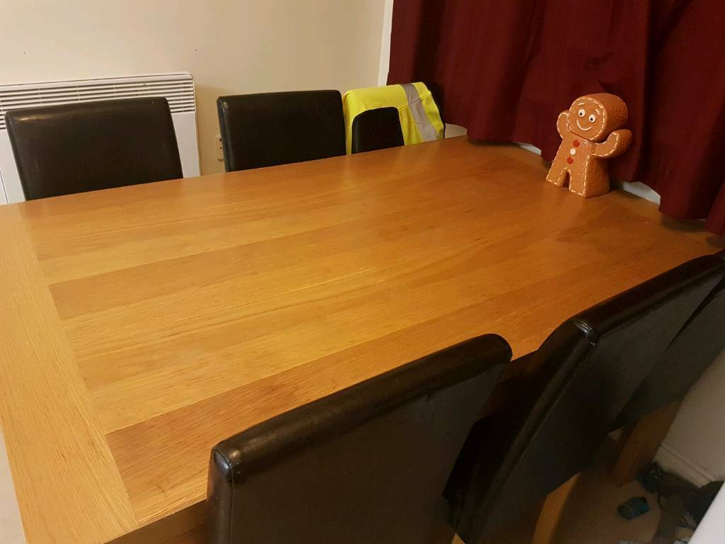 Large Oak Dining Table & 6 x Faux Brown Leather Chairs