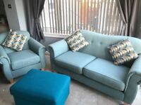 2 seater and 1 chair and footstool