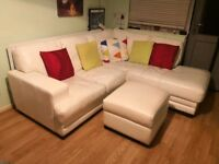 White Leather corner sofa with armchair and footstool, London, SE8, £300