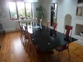 Exquisite Black Glass Dining Table extendable up to 300 cm and 10 red leather and chrome chairs