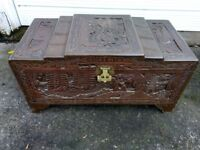 A Carved Oriental Blanket Box Chest Trunk Coffee Table etc