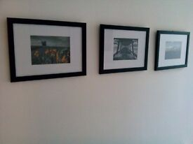 3 Framed original photographs 33cm x 24cm B&W with pop of colour