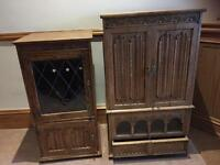 Solid Oak TV and stereo unit