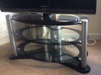 Glass & black oval TV Stand