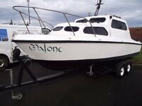 18ft MB Europa 580 Fiber-Glass Boat with 25 hp and 5hp aux
