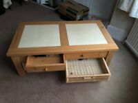 Coffee Table, oak-effect, tiled top, four drawers
