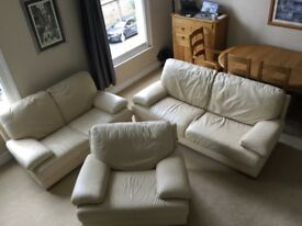 Cream 3 piece leather suite