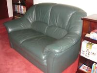 Dark green leather settee and 2 chairs