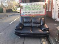 2 seater sofa in black leather on chrome feet mint mint condition £139