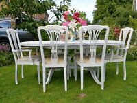 Shabby chic extending dining table and 6 dining chairs