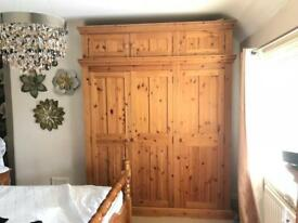 Solid pine 3 door wardrobe with extra cupboard space