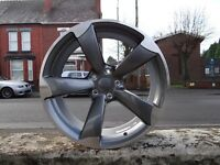 """4X BRAND NEW 19"""" AUDI TTRS BLACK EDITION ROTOR ALLOY WHEELS ET25 A5 A7 A8 TT HUGE CONCAVE"""