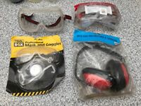 Safety spectacles (specs /goggles), mask and ear defenders