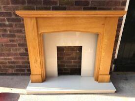 Granite hearth and Back Panel + Oak Fire Surround LONG EATON