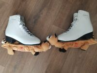 Women's ice skates. Galaxy size 5 with covers