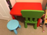 Red table with chairs