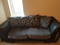 Black and Grey 2 + 3 seater sofas - perfect condition