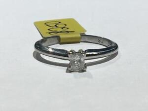 #1394 PLATINUM PRINCESS CUT SOLITAIRE DIAMOND ENGAGEMENT RING. SIZE 5 1/2.