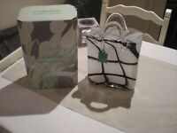 Unusual Vase by Laguna, Handbag design in lesser seen 'cow print', boxed excellent condition
