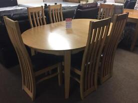 Brand new extendable dining table and 6 chairs--ONLY £480--CALL TODAY!!!