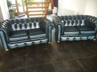Chesterfield leather sofa x2