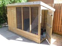 """Large outdoor kennel. Width 8' x4'6"""" Deep x 68"""" High. Needs to be dismantled to be removed. £100"""