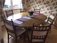 Hand Crafted Solid Oak Dining Table with 8 chairs Excellent Condition, Oval or Round your choice