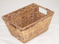 BASKETS - 4 seagrass baskets 22 x 30 cms x height 15cms vgc £9