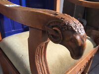 Carved rams heads armchair Lovely carved detail , feel free to view. Free local delivery.