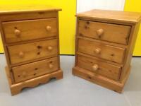 Pair pine bedside cabinets / chest of drawers furniture Sutton