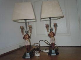 VINTAGE PAIR BLACKAMOOR TABLE LAMP