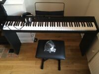 NEVER USED WEIGHTED PIANO/KEYBOARD + STAND +FOOT PEDAL AND HEADPHONES