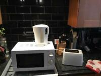 Microwave, kettle and toaster
