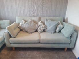 2 & 3 seater Duck egg blue sofas. Great condition. £250. Have been professionally cleaned.